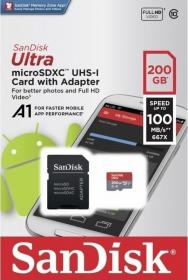 Sandisk Ultra microSDXC 200GB U1 A1 with Adapter (SDSQUAR-200G-GN6MA)